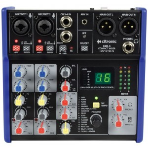 Citronic CSD-4 Compact Mixer With Bluetooth and DSP Effects