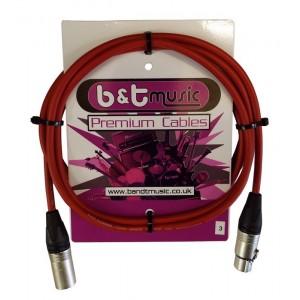 B&T Music Premium Cable 3m XLR To XLR - Red
