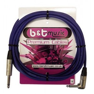B&T Music Premium Cable 6m Jack To Angle Jack - Blue