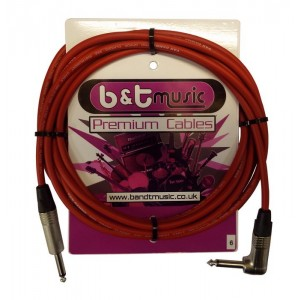 B&T Music Premium Cable 6m Jack To Angle Jack - Red
