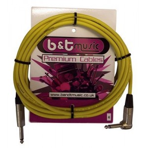B&T Music Premium Cable 6m Jack To Angle Jack - Yellow