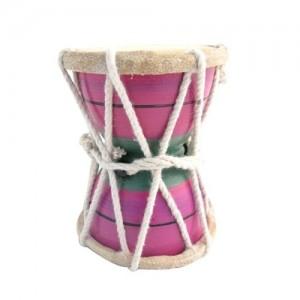 brightly coloured indian damaru drum