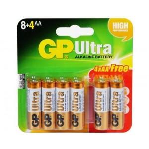 GP GPPCA15AU080 Ultra Alkaline 8 x AA + 4 FREE Batteries