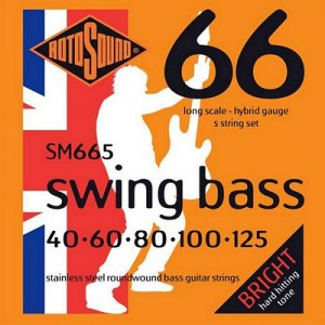 Rotosound SM665 Swing Bass 66 Stainless Steel 5-String Bass strings 40-125