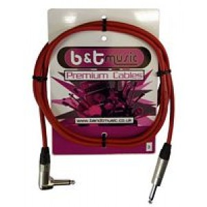 B&T Music Premium Cable 3m Jack To Angle Jack - Red