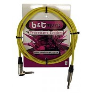 B&T Music Premium Cable 3m Jack To Angle Jack - Yellow