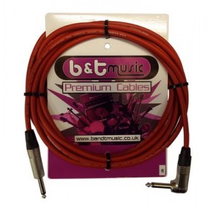 B&T Music 6m Jack To Angle Jack Premium Cable - Red